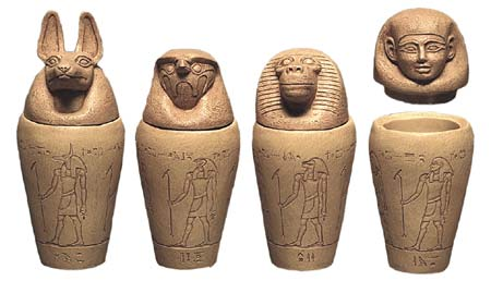 The four canopic jars that the internal organs were placed in are also